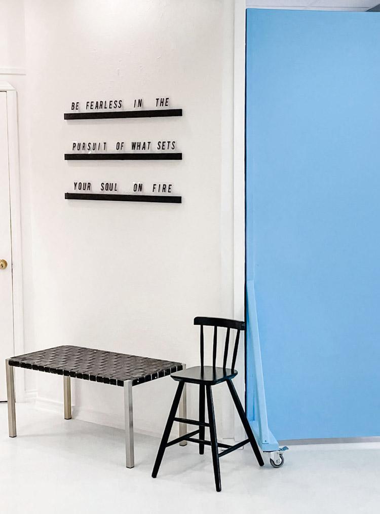 Blue Moveable Backdrop at Sun Catcher Studio