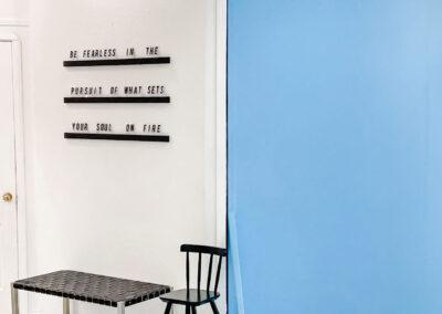 Blue Backdrop & Seating at Sun Catcher Studio
