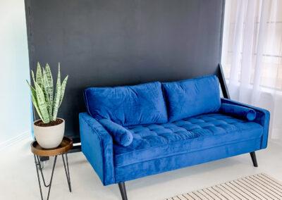 Blue Couch at Sun Catcher Studio